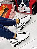Женские кроссовки текстиль Дольче Габбана черные, белые, фото 3