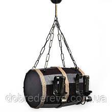 Люстра деревянная Бочонок 4 св, эксклюзивная, Светильник в виде бочонка