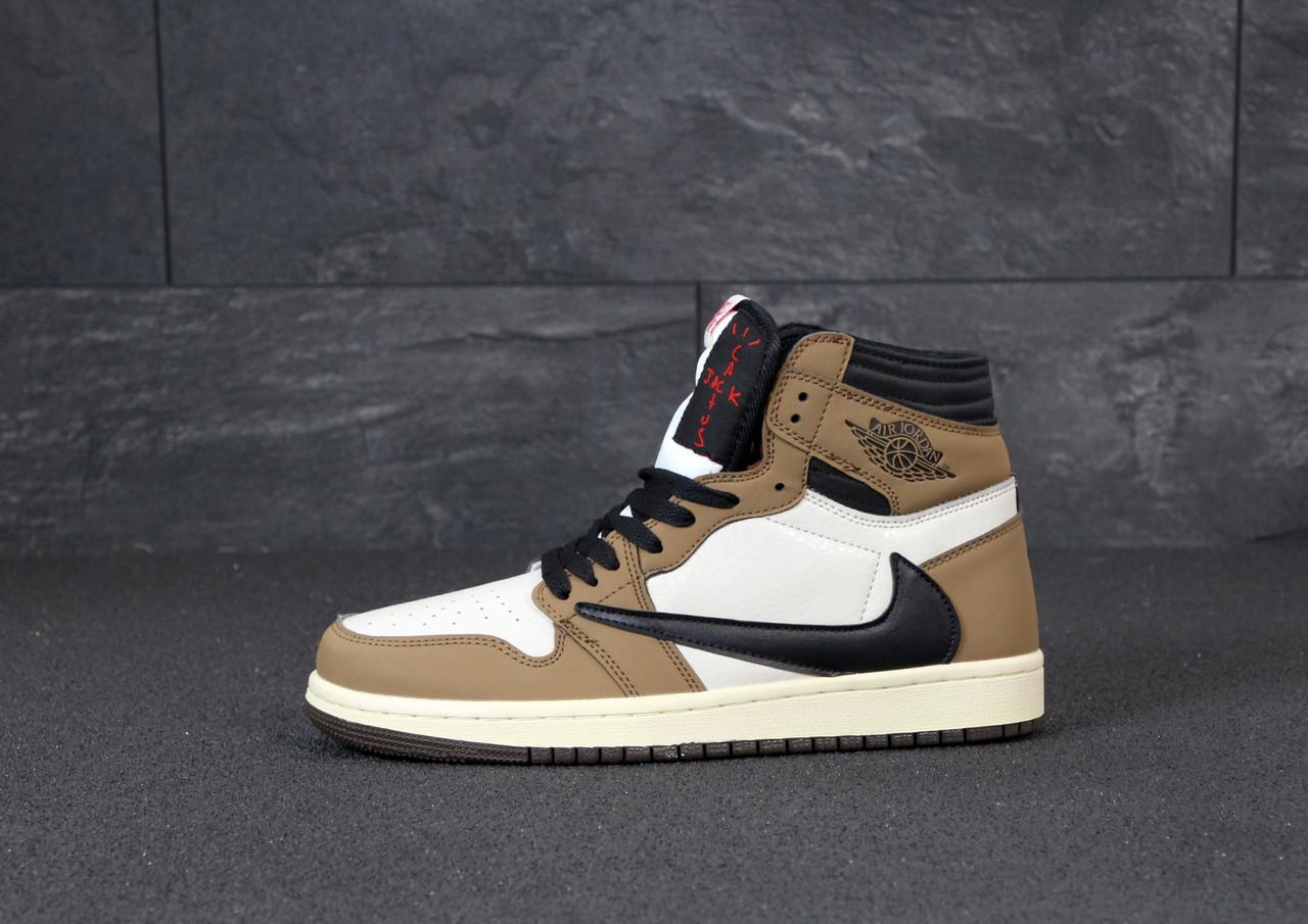 Мужские кроссовки Nike Air Jordan. White Khaki. ТОП Реплика ААА класса.
