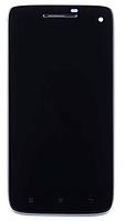Дисплей для Lenovo S960 Vibe X + тачскрин, черный, с передней панелью, оригинал