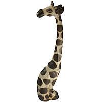Статуэтка жираф деревянный палевый сидя, высота 1,2м