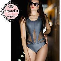 Сдельный купальник Amorefit пуш-ап, черный сатин