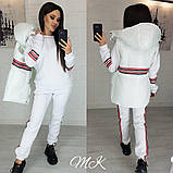 Женский стильный теплый костюм-тройка: желетка на силиконе, брюки и кофта, красный, черный, белый норма и бата, фото 3