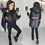 Женский стильный теплый костюм-тройка: желетка на силиконе, брюки и кофта, красный, черный, белый норма и бата, фото 2