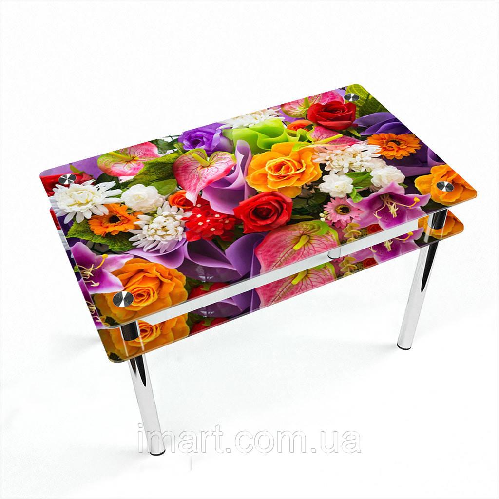 Стол обеденный на хромированных ножках Прямоугольный с проходящей полкой Flowers