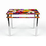 Стол обеденный на хромированных ножках Прямоугольный с проходящей полкой Flowers, фото 2
