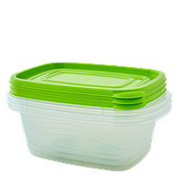 """Набор контейнеров (3 шт) для пищевых продуктов """"Алеана"""" ОМЕГА прямоугольный 1,8л."""