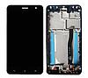 Дисплей (экран) для Asus ZenFone 3 (ZE552KL) + тачскрин, черный, с передней панелью синего цвета