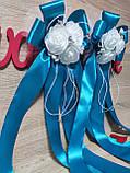 Украшение на ручку свадебных машин Букет Роз. Цвет бирюзовый., фото 2