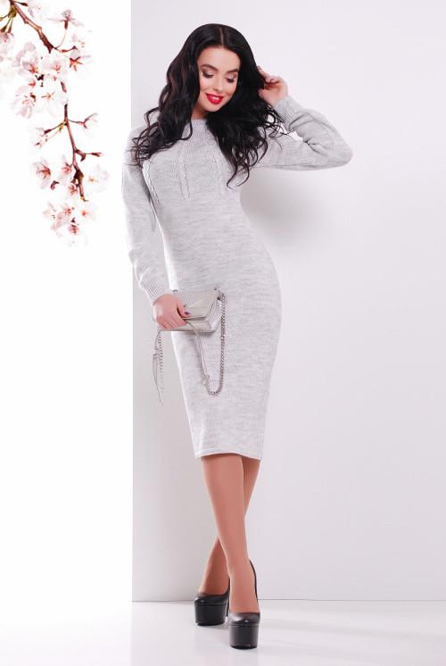 Вязаное платье 137 светло-серый