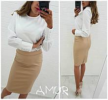 Нарядный костюм женский Блуза и юбка из эко кожи Размер 42 44 46 48 50 52 54 Разные цвета