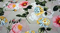 Нежная ткань летний креп телесного цвета с цветочным принтом, фото 1