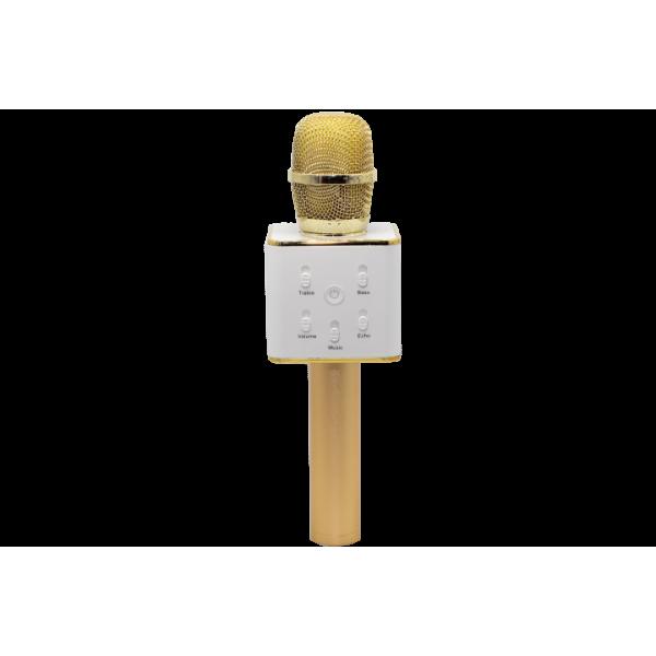 Беспроводной караоке микрофон с динамиками с чехлом Bluetooth USB Q7 Gold (iTMQ7G)