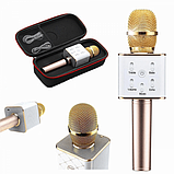 Беспроводной караоке микрофон с динамиками с чехлом Bluetooth USB Q7 Gold (iTMQ7G), фото 3