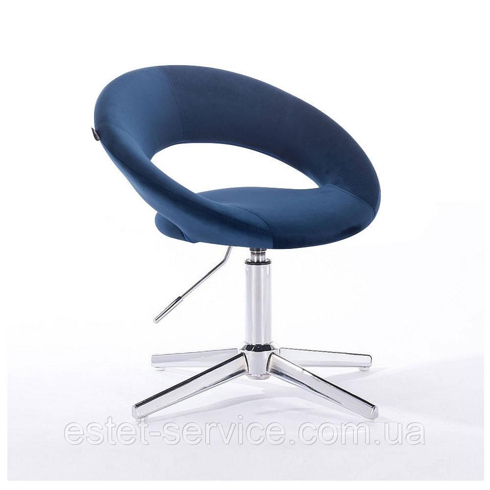 Парикмахерское кресло HR104CROSS на хромированных стопках в ЦВЕТАХ велюра