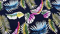 """Ткань плотный штапель (поплин) темно-синего цвета """"Радужный цвет"""", фото 1"""