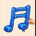 Фольгированный шар двойная нота музыкальная мини фигура синяя 41 см, фото 2