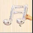 Фольгированный шар двойная нота музыкальная мини фигура серебрянная 41 см, фото 2