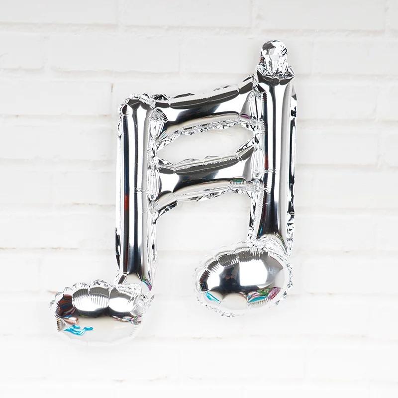 Фольгированный шар двойная нота музыкальная мини фигура серебрянная 41 см