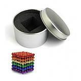 Головоломка Neocube конструктор неокуб 216 магнитных шариков диаметром 5 мм в металлической коробке Разноцветный (iTNC1), фото 5