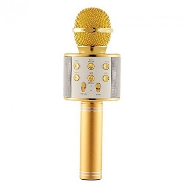 Детский беспроводной аккумуляторный караоке микрофон WS-858 с колонкой Bluetooth 23 см Золотой (iTMWS858G)