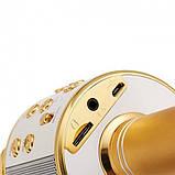 Детский беспроводной аккумуляторный караоке микрофон WS-858 с колонкой Bluetooth 23 см Золотой (iTMWS858G), фото 2