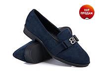 Модные СИНИЕ туфли женские р. (38-39)