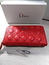 Жіночий гаманець в стилі Dior, Діор Копія Lux, червоний колір