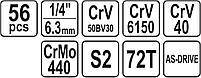 Набор инструментов 56 предметов YATO YT-14501, фото 5