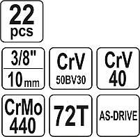 Набор торцевых головок 22 предмета YATO YT-38561, фото 5