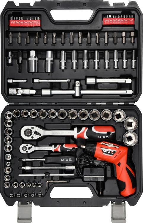 Набор инструментов 100 предметов с аккумуляторной отверткой YATO YT-12685