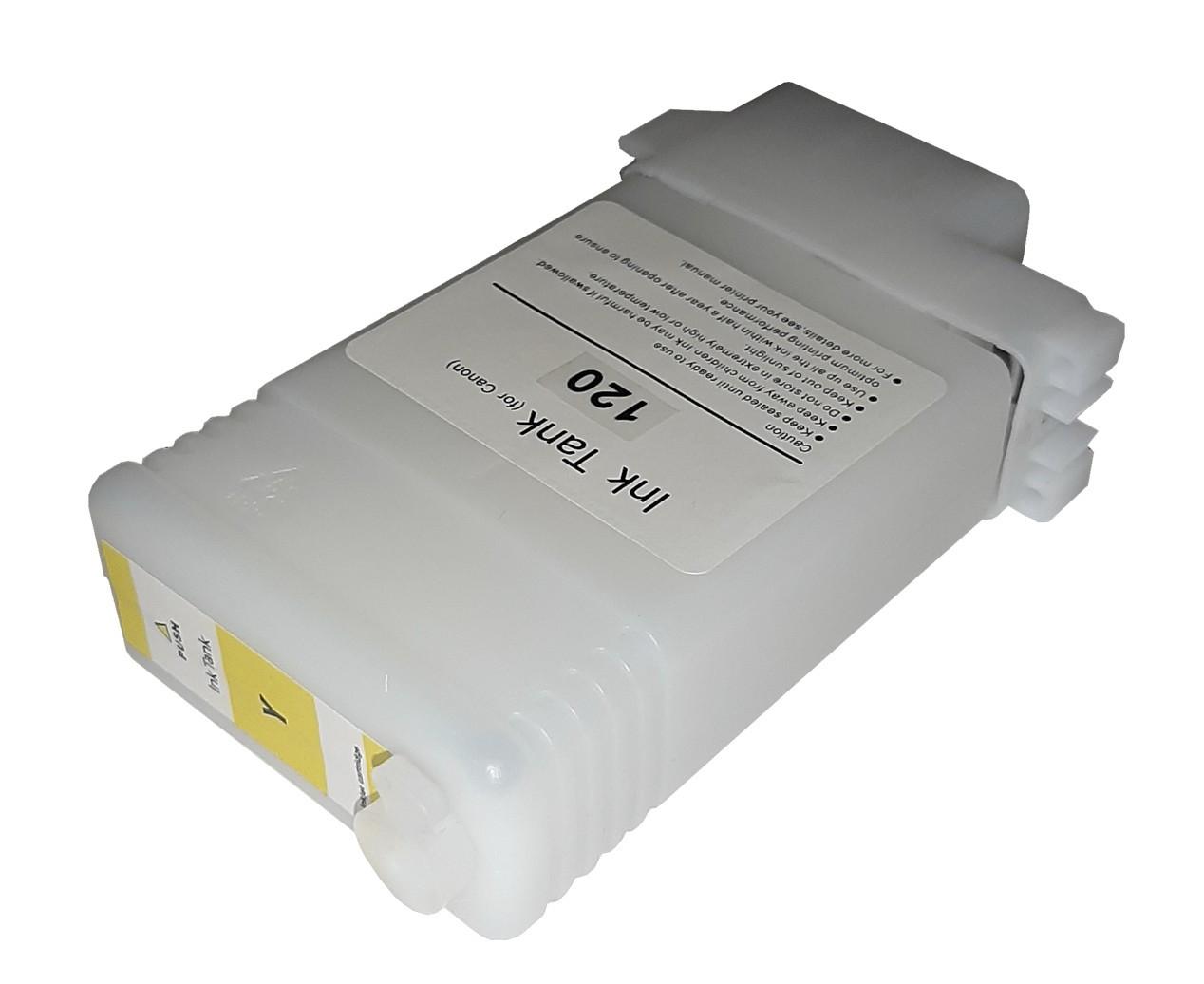 Перезаправляемый картридж Ocbestjet для плоттеров Canon TM-200/300 с чипом PFI-120 Yellow (130 мл)