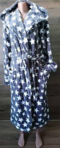 Мужской халат серого цвета со звездами под пояс 48-56 р