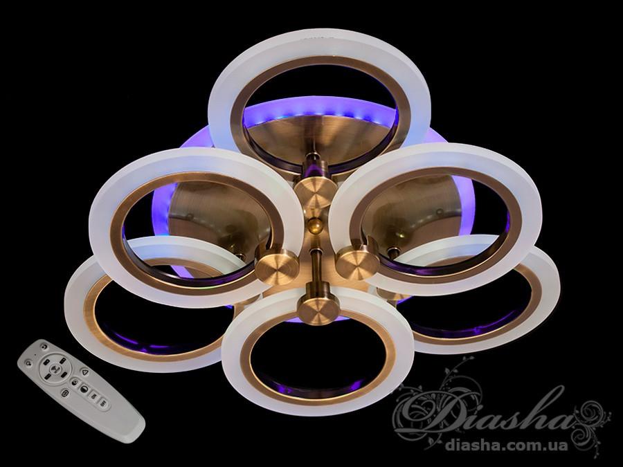 Потолочная LED-люстра с диммером и цветной подсветкой, 70W&A3003/3+3BR LED 3color dimmer