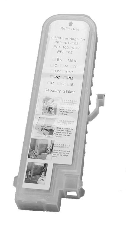 Перезаправляемый картридж Ocbestjet тип F3 для плоттеров Canon iPF670/iPF770 с чипом PFI-107 Yellow (280 мл)