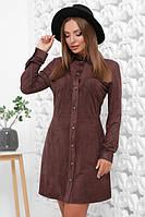 Замшевое женское платье шоколадного цвета 44, 46, 48