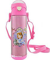Термос детский с поилкой и шнурком на шею Disney 9030-500 500мл София Розовый