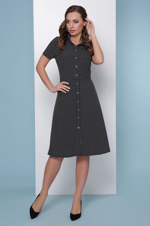 Платье-рубашка черный горох 42, 44