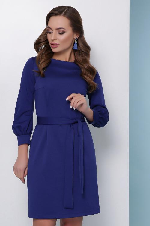 Стильное красивое платье из джерси синее 42