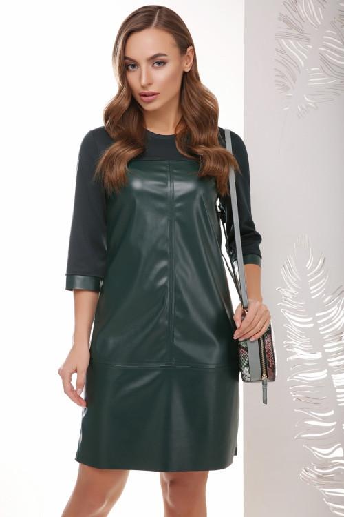 Комбинированное платье из эко кожи и джерси темно-зеленое 42, 46
