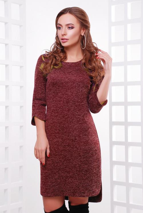 Стильное платье из ангоры с люрексовой нитью бордовое 50