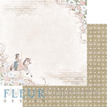 """Лист бумаги для скрапбукинга """"Каприз"""", коллекция """"Джентиль"""", 30х30, плотность 190 гр."""