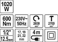 Гайковерт ударный электрический YATO YT-82021, фото 8