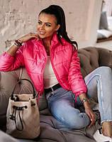 Куртка женская демисезонная короткая. Цвет: бежевый, малиновый, пудровый, чёрный, белый