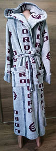Серый мужской халат под пояс с двумя карманами Евро 48-54 р
