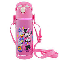Термос детский с поилкой и шнурком на шею Disney 603 350 мл Микки Маус Розовый
