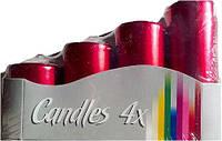 Свечи цилиндры 4шт, цвет красный металлик