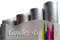 Свечи серебрянные цилиндры 4шт
