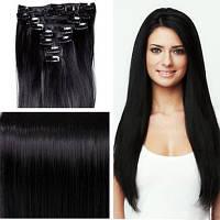 Волосы на заколках 70 г 50 см, цвет черный (№ 1)