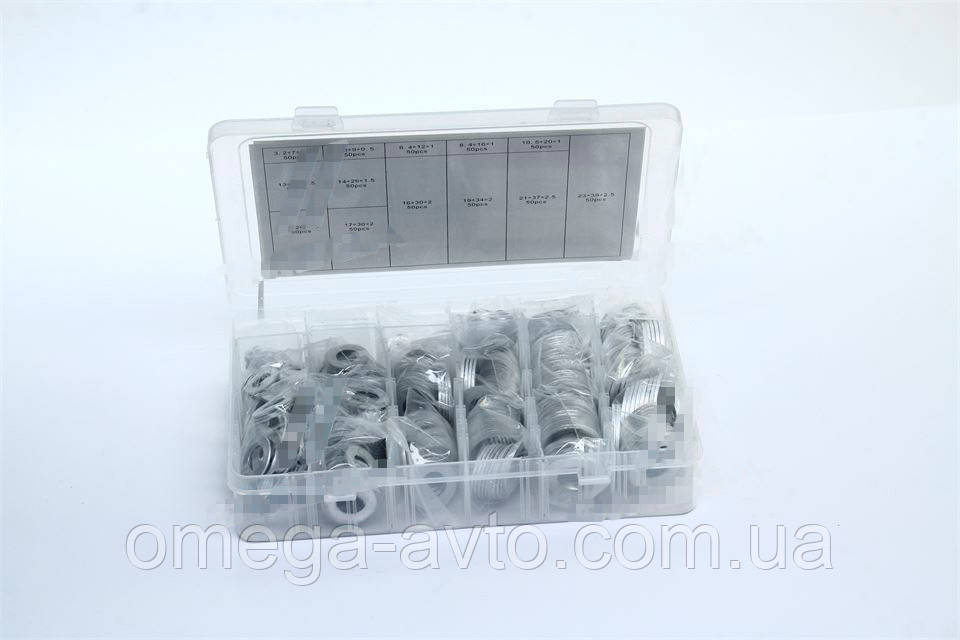 Набор алюминиевых шайб 650шт. (М3-М22) (Rider) RD11650AK